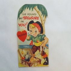 1930s Vintage Valentine card die cut little boy pirate on tropical island with treasure chest by Carrington by KerrysBungalow, $10.00