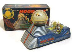 "1950s Original TIN Japan Spaceman ""Moon CAR"" EXC IN BOX Works   eBay"