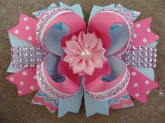 Items similar to Pink and blue Hair Bow Flower Hair Bow Boutique hair bow Flower Hair Bow Hair Bow pink and blue hair bows Pigtails hair bows on Etsy Blue Hair Bows, Flower Hair Bows, Ribbon Hair Bows, Diy Hair Bows, Diy Bow, Flowers In Hair, Bow Hanger, Stacked Hair, Hair Bow Tutorial