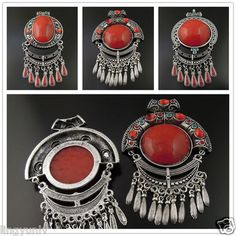 Retro Style Silver Alloy Red Imitated Gem Charm National Pendant Dangle 2PCS