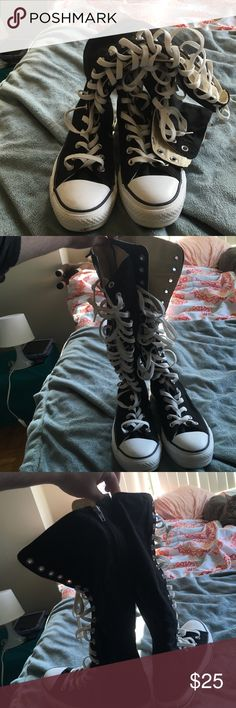 SALE Converse Knee High Lace Up Sneakers Worn once, black converse knee high sneakers Converse Shoes Sneakers