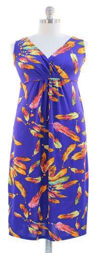 Pretty Plus size Feather Print Maxi Dress - Royal Blue 1X  #NEWYORKANNA #Maxi #Formal