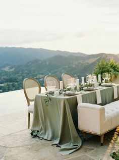 24 Apr 2020 - A sleek stationery suite, a sexy gown, and stunning views of Malibu combine for a gorgeous wedding editorial. Olive Wedding, Wedding Mint Green, Sage Wedding, Tuscan Wedding, Dream Wedding, Wedding Fun, Wedding Stuff, Wedding Table Linens, Wedding Table Settings