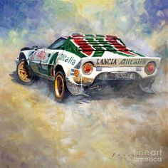 Gallery of artist Yuriy Shevchuk: Lancia Stratos Sandro Munari 1976 Rallye Sanremo Vintage Racing, Vintage Cars, Sport Cars, Race Cars, Car Illustration, Car Posters, Car Drawings, Car Sketch, Automotive Art