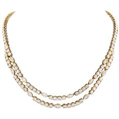 Cartier Navette and Round Brilliant Cut Diamond Multistrand Necklace | From a unique collection of vintage multi-strand necklaces at https://www.1stdibs.com/jewelry/necklaces/multi-strand-necklaces/