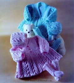 Baby knitting pattern to knit 2 jackets, bonnet and socks Requires DK ply) Light Worsted weight yarn Sizes 14 to 18 inch chest (prem sizes Knitting For Kids, Double Knitting, Baby Knitting Patterns, Baby Patterns, Knitting Projects, Crochet Patterns, Vintage Knitting, Vintage Crochet, Pull Bebe