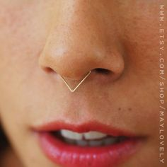 Fake Septum Fake nose ring triangle Septum Ring Gold by maylovely