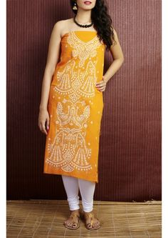 Lemon yellow Kantha Stitch Handloom Cotton Kurti