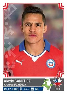 Alexis Sanchez of Chile. Alexis Sanchez Arsenal, Football Cards, Baseball Cards, America Album, Arsenal Fc, Fifa World Cup, Soccer, Stickers, Euro