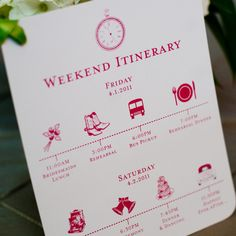 Custom wedding itinerary card- great for planners like me :) This one's a great idea so you can include the rehearsal and dinner, too!