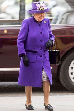 Queen Elizabeth Style In Pictures | British Vogue Queen And Prince Phillip, Prince Philip, Duke Of Edinburgh Award, Queen Hat, Wearing Purple, Purple Coat, Royal Queen, Her Majesty The Queen, Queen Of England