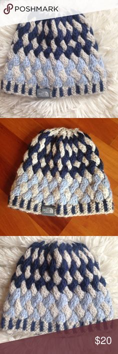 North Face knit hat Beautiful comfortable and warm light blue navy blue and white north face fleece lined super warm North face Other