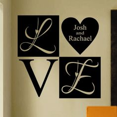 Vinyl Wall Lettering Quote Wedding Valentine Personalized Love Heart Block 2 ft. x 2 ft.