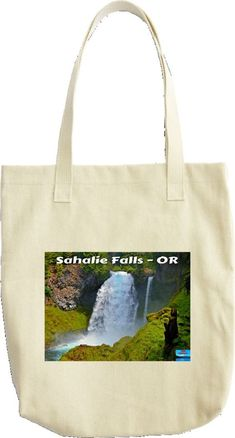 A tote bag featuring Sahalie Falls on the McKenzie River - Cascade Range - OR Design Your Own, Reusable Tote Bags, Outdoors, Range, River, Fall, Autumn, Cookers, Ranges