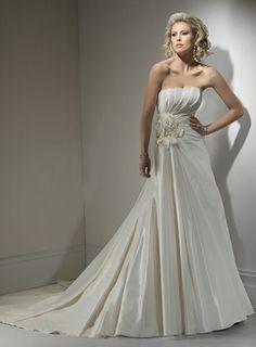 Attractive Scalloped-Edge Sleeveless Satin wedding dress