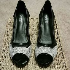 Centenary Peep Toe Heels Black with silver rhinstones. See through mesh sides. Size 7M (235). Only worn a few times. Excellent condition. Centenary Shoes Heels