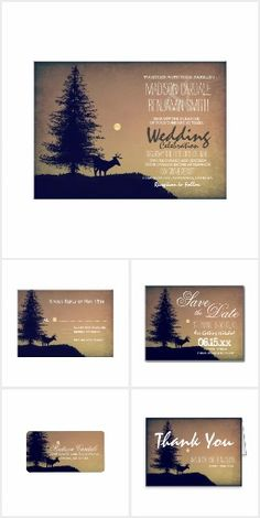 Rustic Deer Pine Tree Country Wedding Set