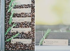 Organic-looking table numbers with coffee beans. Venue: Saddlerock Ranch Malibu Wedding @greenweddingshoes