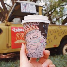 """""""Cool coffee cup art! Adventure in a cup! ☕️ #biocupartseries #coffeecupart #biopak #biocup #coffee #coffeecup"""""""