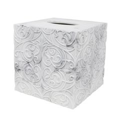 The square-shaped Brookline Tissue Cover offers an aesthetically pleasing design that hides the traditional cardboard tissue boxes. Each tissue cover is crafted in a resin material that features a luxurious white and gray faux marble look. To complete the look, there is a unique embossed pattern that exudes elegance. The Brookline Tissue Cover will provide any bathroom with a spa-like bathroom design. Use it on its own or pair it with other pieces from the Brookline Collection.