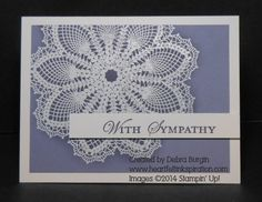 Although Hello, Doily isn't available from Stampin' Up! any more, this emboss resist technique is equally stunning on other large images.  Click for more details!
