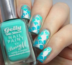 Brit Nails: Gradient Stamp over silver