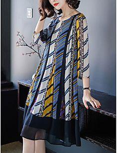 1fb1e4615f6 Femme Grandes Tailles Sortie Mi-long Mousseline de Soie   Balançoire Robe -  Plissé