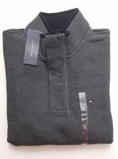NWT Tommy Hilfiger Men's LARGE Half Button Mock Neck Sweater Jacket, Yellow/Navy #TommyHilfiger #MockNeck