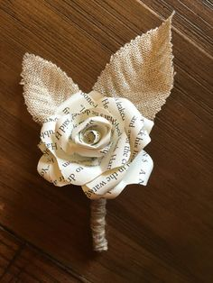 Paper Flower Boutonniere book flower by TheDrunkenSeagull on Etsy for $8.00