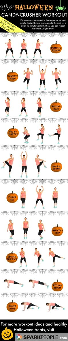 Boo! This 10-minute cardio circuit workout is a frighteningly fun way to burn off all that Halloween candy.