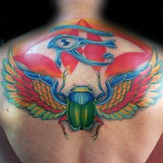 colorful mens scarab guys egyptian eye upper back tattoo