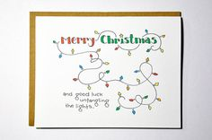 Funny Christmas card  tangled lights by DarkroomandDearly on Etsy, $4.00