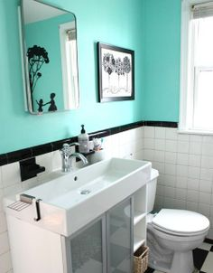 Great way to modernize old bathrooms - they even left the built in soap and toothbrush holder things