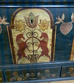 Blanket Chest, Rug Ideas, Painted Boxes, Tree Of Life, Painted Furniture, Folk Art, Cabinets, Art Pieces, Aesthetics
