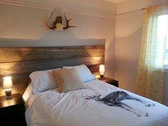 Mur imitation planche de grange recuper arbre pinterest decoration sal - Tete de lit planche bois ...