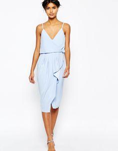 ASOS+Cami+Strap+Crop+Top+Drape+Pencil+Dress