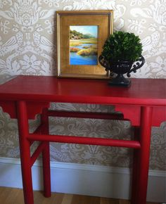 The Zia Console Table - Asian Style  - Painted in Annie Sloan Emperors Silk Chalk Paint with Dark Wax. $159.00, via Etsy.
