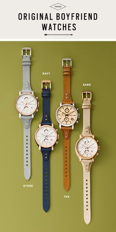 We have a thing for vintage-inspired watches, especially if they look like we borrowed them from the boys! Get acquainted with our newly updated Original Boyfriend watches, available in four neutral colors for fall. We plan on wearing each one of them with our favorite jeans and button-down shirt combo for an effortlessly cool look.