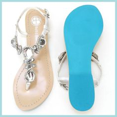 Something BLUE SOLE Jewel Crystal Strappy White Bridal Thong Sandals  $74.00, via Etsy.