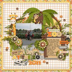 Zoo scrapbook layout  too busy for me ... But spread out to two page layout ... That would work.  JDH