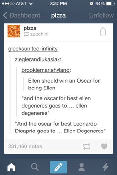 I tried so hard not to laugh. But then I saw the bit about Ellen winning the award for Best Leonardo DiCaprio