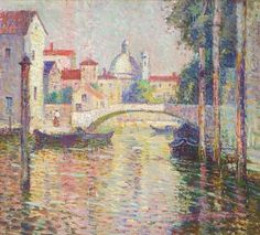 """A Venetian Canal,"" George Loftus Noyes, oil on canvas board on board, 13 x private collection. American Impressionism, Impressionist, Venice Canals, Shimmer Lights, French Countryside, Old Master, Art Studies, American Artists, Oil On Canvas"