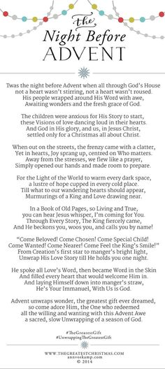 The Night Before Advent - Ann Voskamp