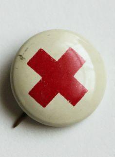 Vintage Red Cross Pin