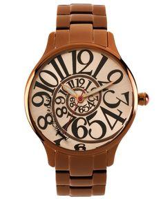 Betsey Johnson Watch, Women's Brown-Tone Stainless Steel Bracelet 39mm BJ00040-13 - Betsey Johnson - Jewelry & Watches - Macy's