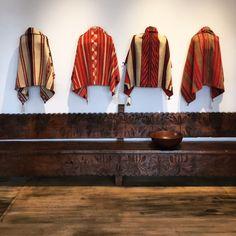 Late Classic Navajo Child's Blankets above an antique Guatemalan bench at Shiprock Santa Fe Aztec Tribal Patterns, Indian Blankets, Navajo Rugs, Native American Artifacts, Southwestern Style, Santa Fe, Lana, Kimono Top, My Style
