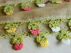 wild flower scarf shawl - Turkish cotton - crochet lace edging. $35.00, via Etsy.