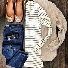 Classic Fall combo  My jeans are on sale for $40 and this striped tee is only $19! Get all details through the link in my profile or with @liketoknow.it [ http://liketk.it/2szNI ] #liketkit #outfitflatlay