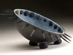 LISA KLAKULAK - renew needle felt vessel textile art sculpture contemporary abstract