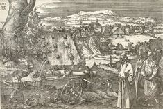 Albrecht Dürer 1471 - 1528 THE LANDSCAPE WITH THE CANNON (B., HOLL Etching, a very good Meder Ia impression before the rustmarks, printing slightly unevenly at top, on paper with a Narrow High Crown watermark (M. framed sheet: 219 by 8 by 12 in Vintage Wall Art, Vintage Walls, Canon, Albrecht Dürer, Fine Art Prints, Canvas Prints, Classic Image, Historical Maps, Heritage Image